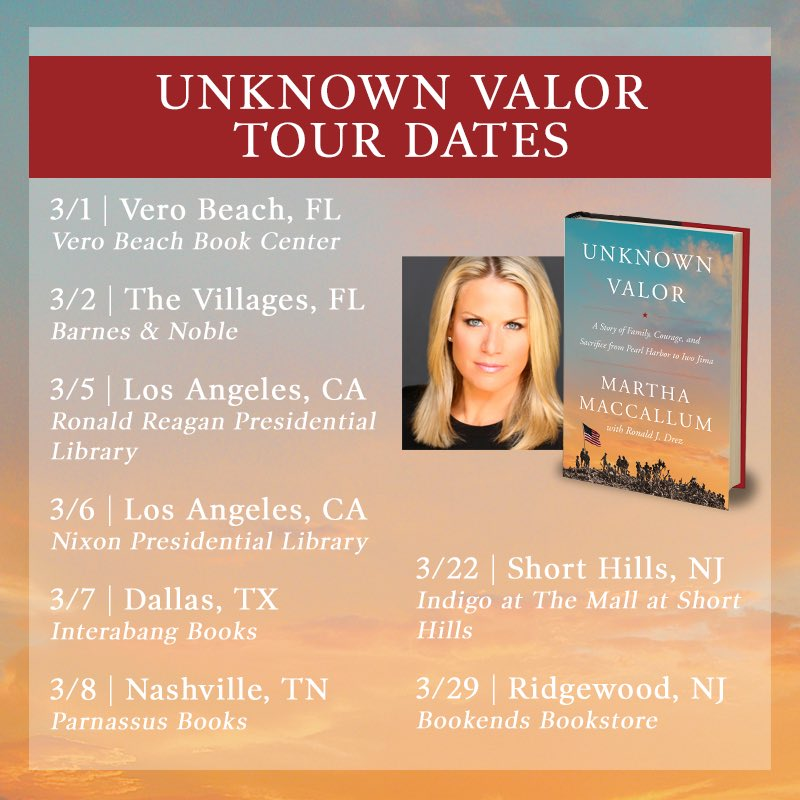 Hope you'll join me, more dates to come! #UnknownValor Order today on Amazon