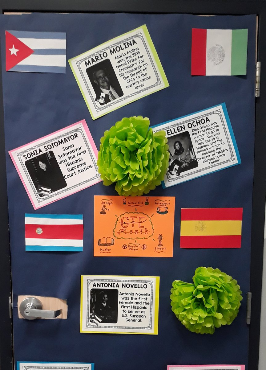 Door decorating done by HHC and Spanish 1 students highlights careers and culture.#CTEMonth #HispanicHeritage #HispanicHeritageClubpic.twitter.com/PUTwMI5Z2k