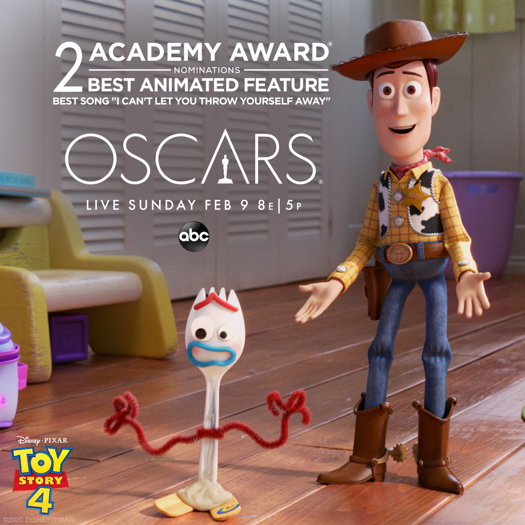 """#ToyStory4 is nominated for Best Animated Feature and Best Song """"I Can't Let You Throw Yourself Away"""" at the #Oscars! Tune-in to the 92nd Academy awards tonight at 8PM eastern time on ABC. https://t.co/UysXKYNCdG"""