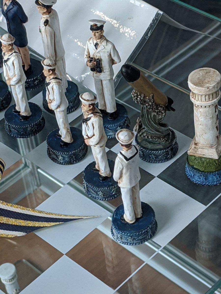 USNavy-themed chess set.