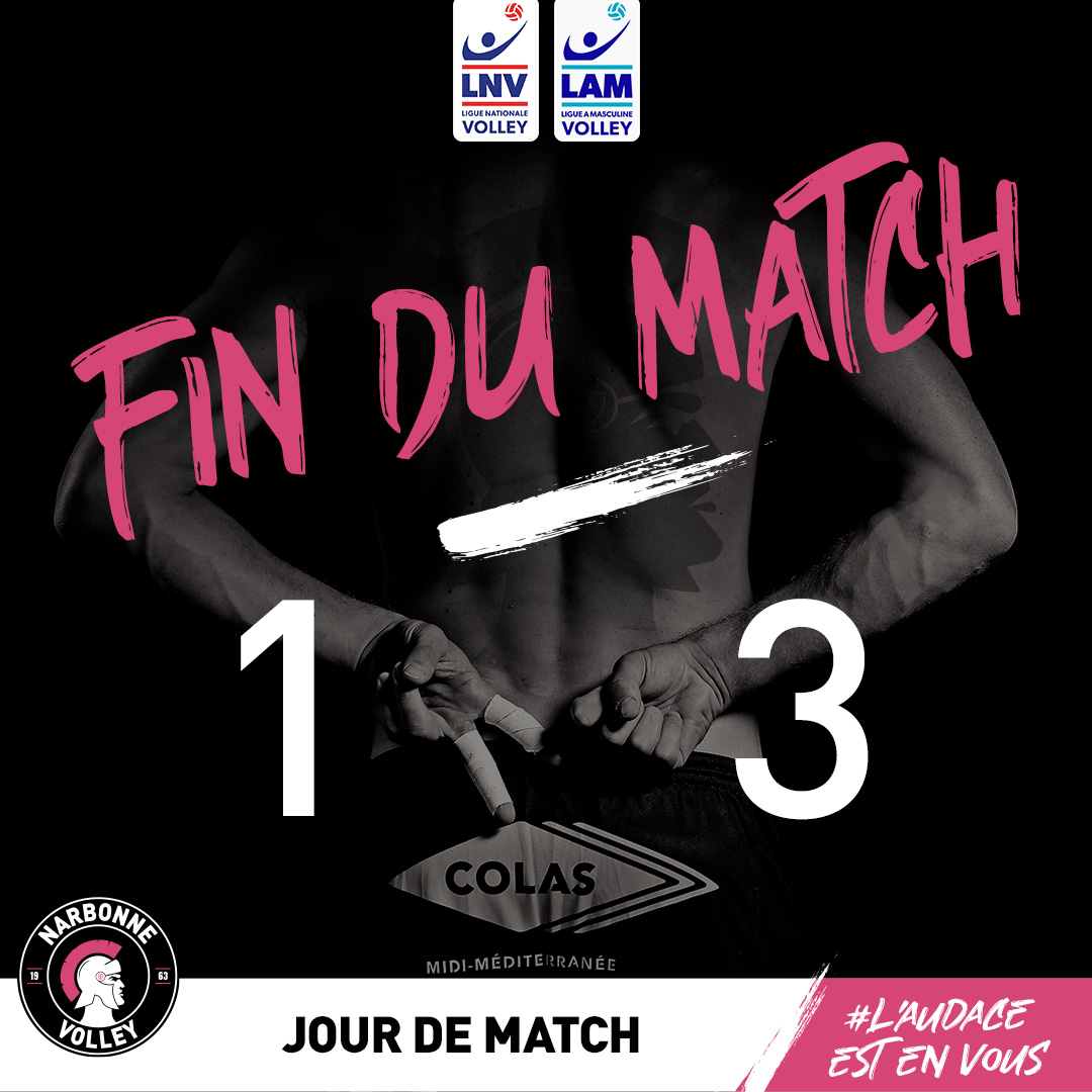 #J20 @LNVofficiel #LAM : @narbonnevolley vs @SpacersToulouse 1-3 (22-25, 27-25,...
