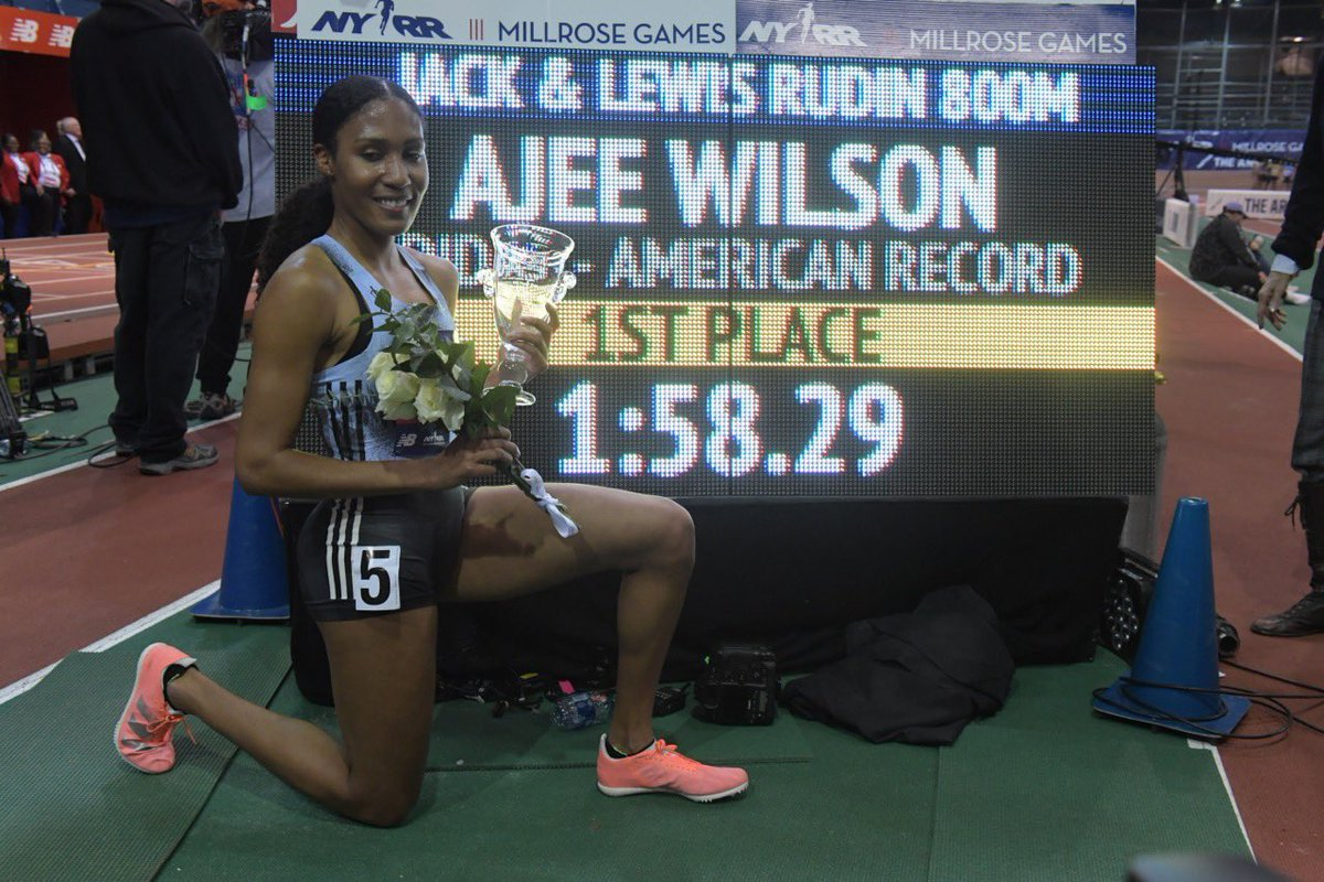 This girl is on 🔥. @AjeeW sets a new indoor 🇺🇸 record at @MillroseGames!