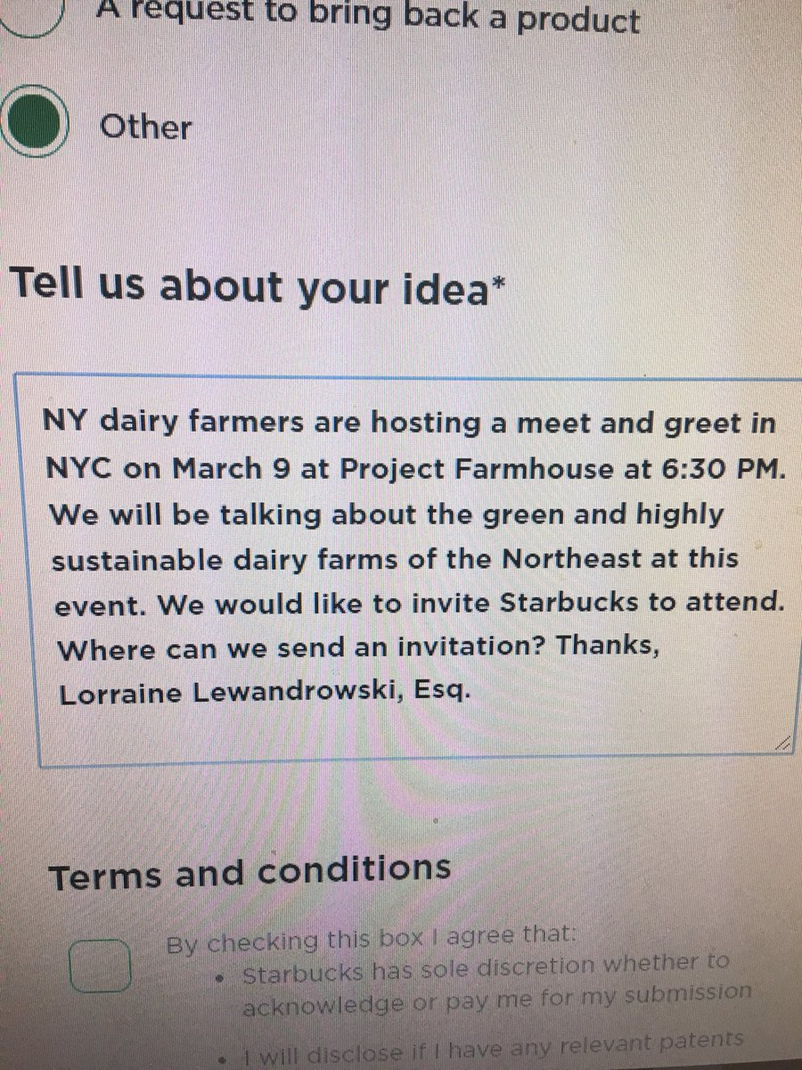 ⁦@KoboriGrillsCSR⁩ Is there anyone at Starbucks who will reply to the dairy farmers?