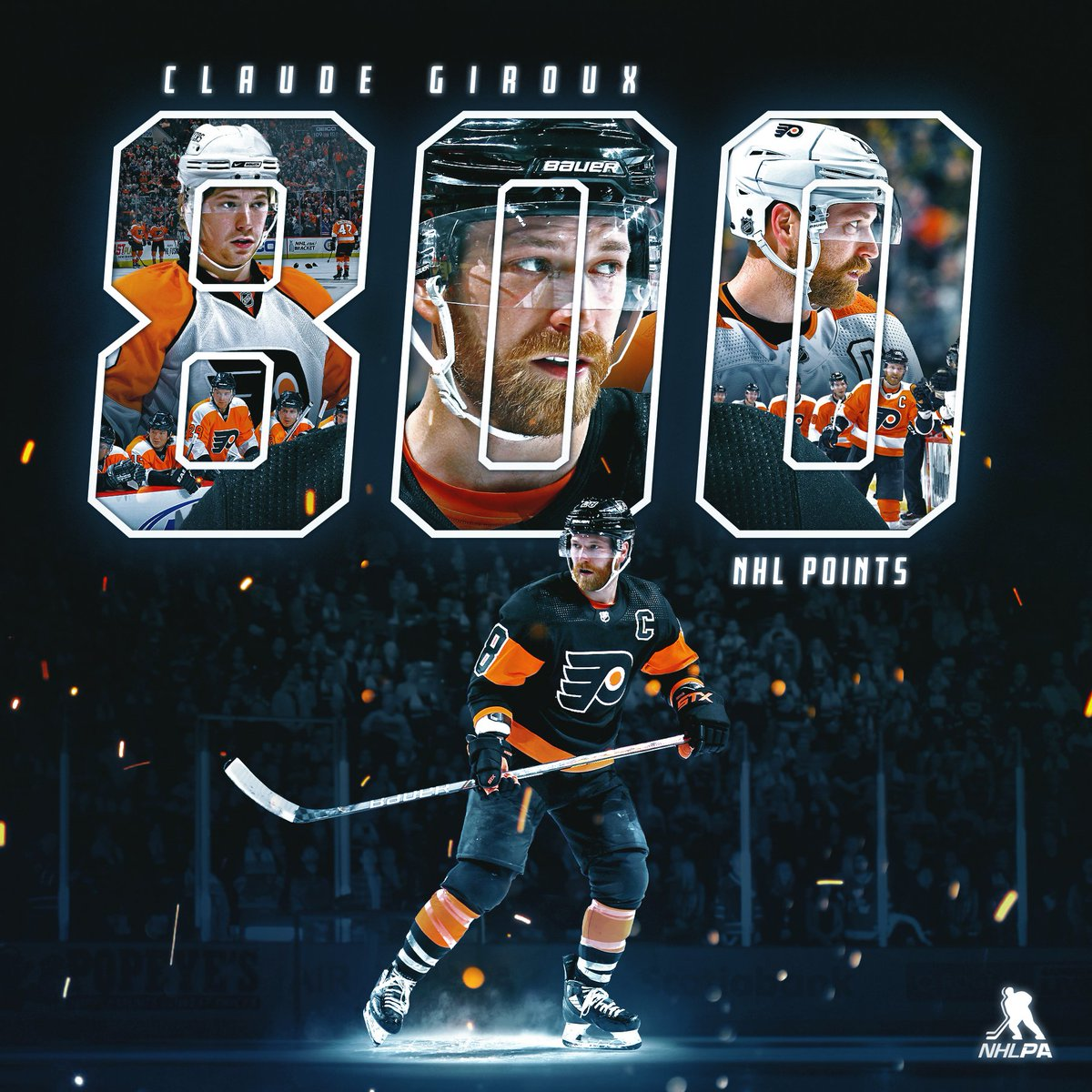 Replying to @NHLPA: That's 800 NHL career points for the @NHLFlyers captain – congrats to @28CGiroux!
