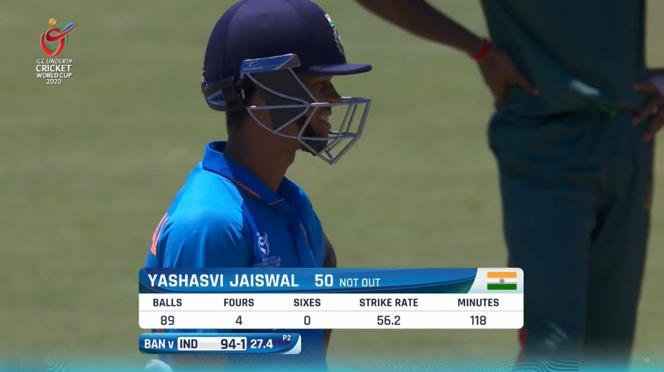 5th 50+ score of this tournament in just 6 innings. What a consistency. Congrats #YashaswiJaiswal. Lets double it up. 💪🙌👏 #INDvBAN #U19CWCFinal