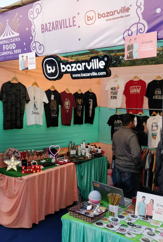 Bazarville stall at Bhopali Zayka Food Carnival 2020 #bhopalizayka #bfc2020 #bazarville #shoppingstall #fashionbrand #customisedtshirts #indianevents #callforevents #bhopalpic.twitter.com/1mwx0NKvl7