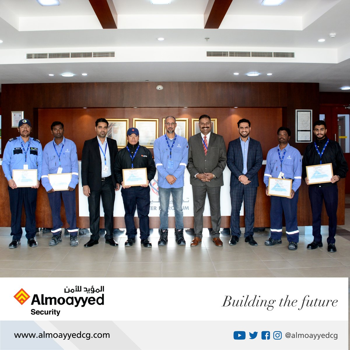 Security personnel Lila Bahadur Rana, Sunil Das, Anjayh Cheppali, Rajeshwor Munnar and Husain Ali Abdulla Yusuf who are a part of our security team at the Tatweer Petroleum project were awarded the honor of Employee of the month for their outstanding performance. #bahrain ⁣⁣ https://t.co/kODZO5j3yz