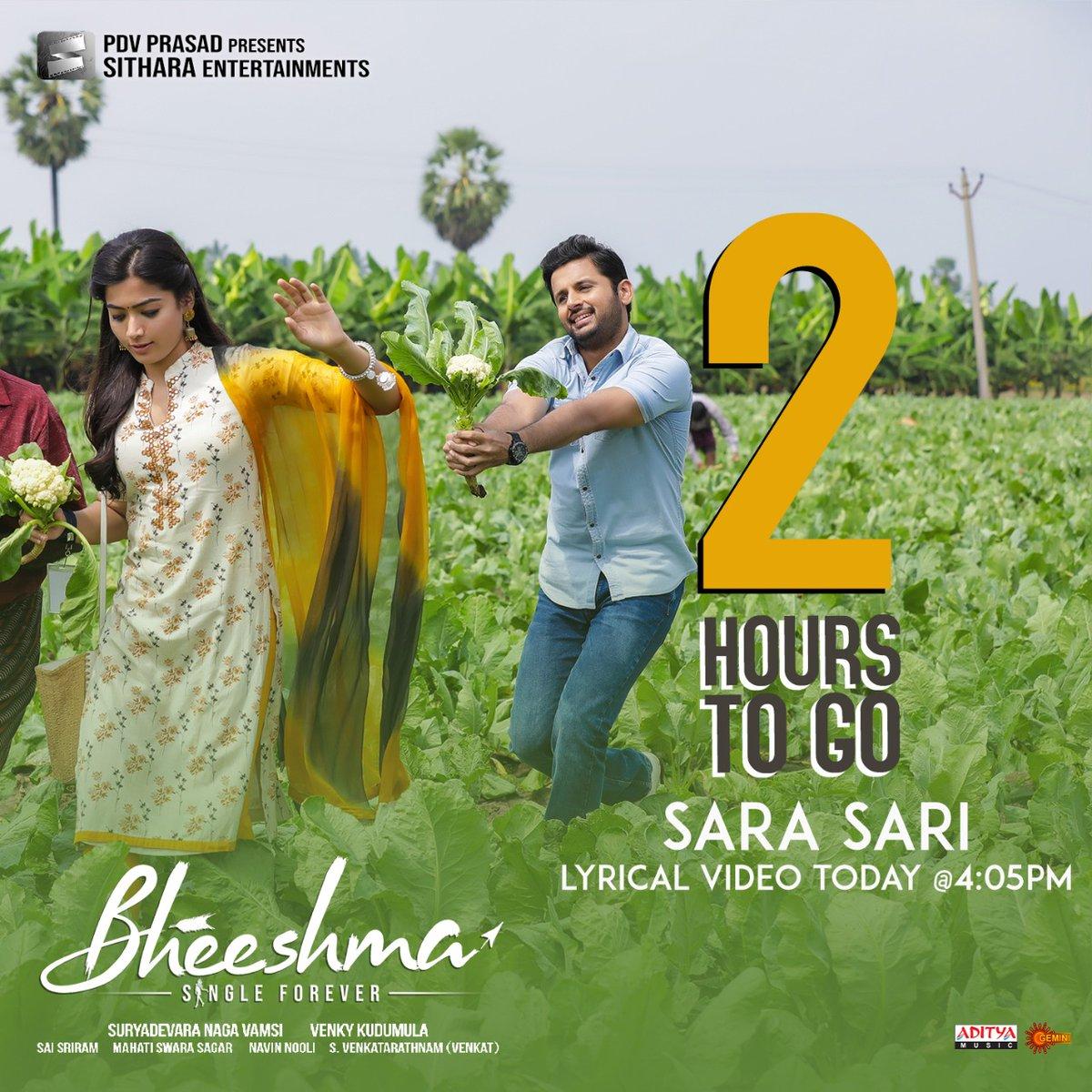 Rashmika Ante Praanam On Twitter 2 Hours To Go For Sarasari Lyrical Video Song Iamrashmika Bheeshma Rashmikasweetymandanna Rashmikamandanna Https T Co Ip7qljx0bs