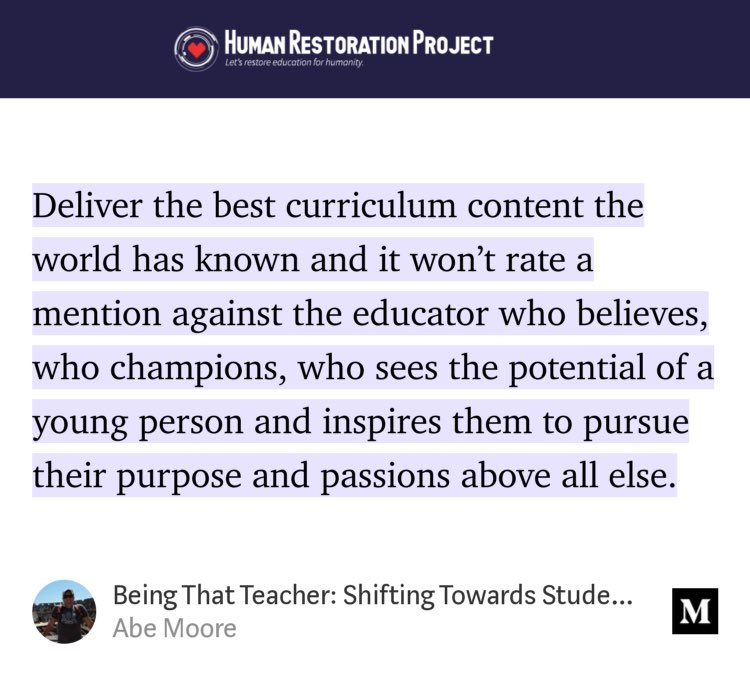 """Being That Teacher: Shifting Towards Student-Centred Learning"" link.medium.com/JZhMxm70V3"
