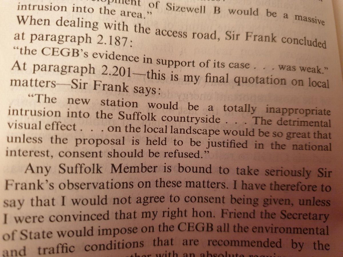 """@UKParliament 23rd Feb 87 #SZB debate, reference to Leyfield pub inq Parallels to today's @sizewellc problems.Para 2.201 of Leyfield still true """"the new station would be a totally inappropriate intrusion into the Suffolk Countryside"""" @EastSuffolk #loveminsmere @TEAGonSizewell"""