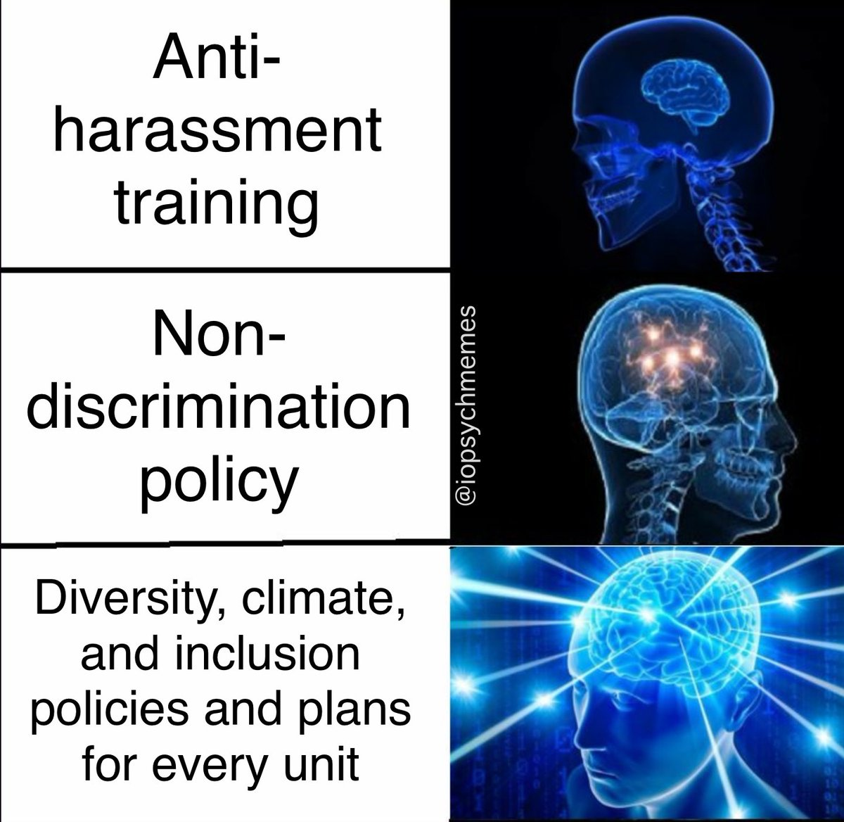 Sure, it would be cool if we could eliminate workplace discrimination in one 2 hr training session, but it takes a lot more than that. #diversity #inclusion #OHPsych #iopsych #iopsychmemes #psychology #psychologymemes #psychmemes #APpsych (thanks Mindy Bergman)pic.twitter.com/lwbvJdh3UQ