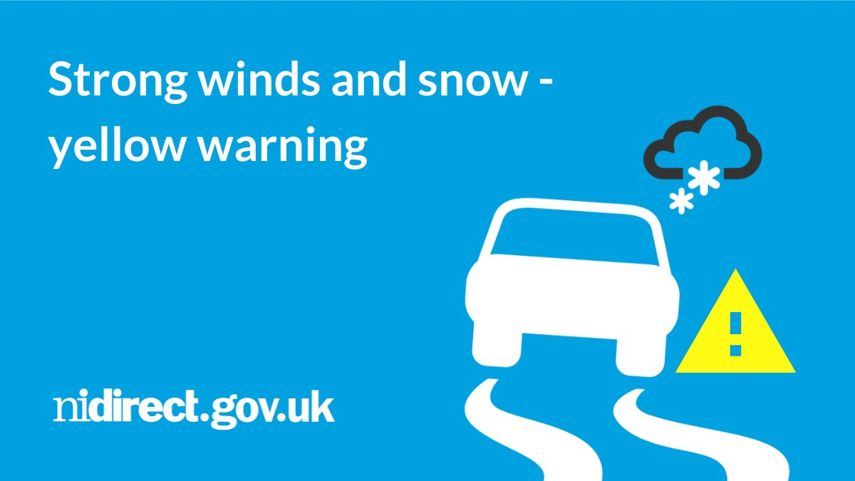 With a weather warning for strong winds and snow overnight until Tuesday, there could be difficult driving conditions, travel delays or cancellations, danger from flying debris and fallen trees, icy patches, and power cuts. Info and advice: nidirect.gov.uk/winds