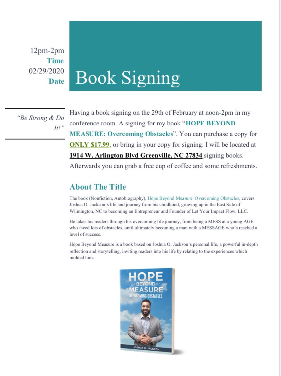 Book Signing: Joshua O Jackson — HOPE BEYOND MEASURE: Overcoming Obstacles on February 29th noon-2pm @ 1914 W Arlington Blvd Greenville, NC 27834. #greenvillenc #wintervillenc #booksigning #event #book #books #bookloverpic.twitter.com/4dabnqc2vr