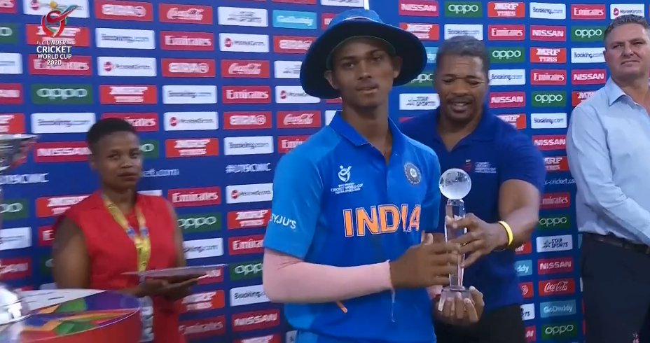 ✅59, 29*, 57*, 62, 105*, 88 ✅400 Runs in 6 innings at avg of 133.33 Player of the tournament Yashasvi Jaiswal. 👏🙌🙏 #INDvBAN #U19CWCFinal #YashasviJaiswal