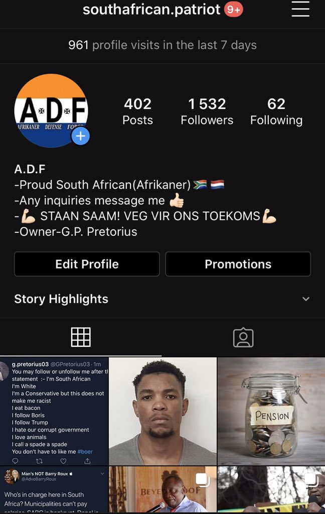Hey I run an independent South African Politigram account. If your interested or Afrikaans go support it! The support means the world. Talking about farm attacks violence and corruption  #southafrica #plaasmoorde #boer #follow #newspic.twitter.com/7IoLWzOwrP