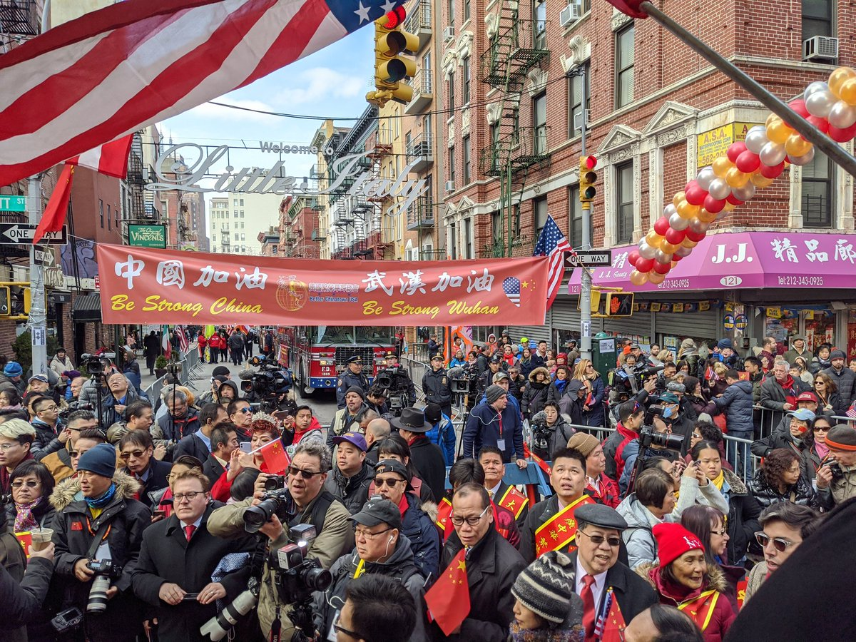"""How much are you to blame for this: In powerful show of defiance of #coronavirus scare, huge crowds gathering in NYC's Chinatown for ceremony ahead of annual #LunarNewYear parade. Chants of """"be strong Wuhan!""""  If you are staying away, you are missing out!pic.twitter.com/gQvcJCVtwE"""