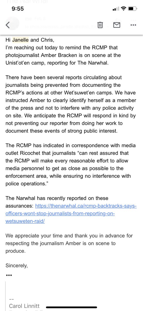 The RCMP are expected at #unistoten camp today in another sweep of arrests for the #coastalgaslink injunction. @photobracken and @amandajfollett are on scene for The Narwhal and @TheTyee. Heres a letter we sent to the RCMP yesterday, reminding police to respect press freedom.