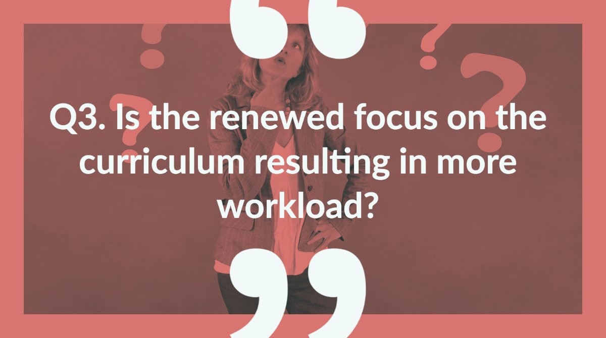 Q3. Is the renewed focus on the curriculum resulting in more workload? #SLTchat