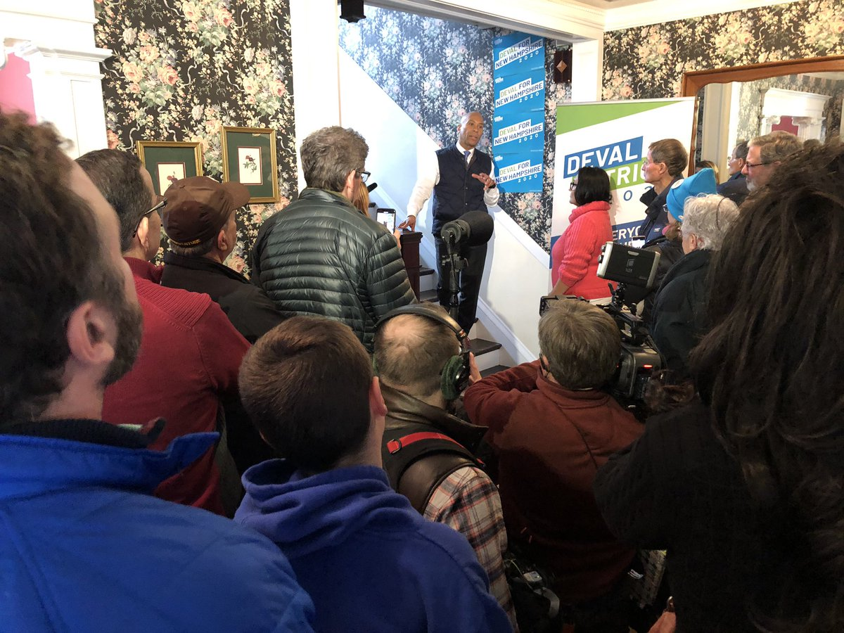 """Everybody's talking about progressive outcomes, I have progressive results! And yet people ask me what lane I fall in? The leadership lane — the one that's missing right now."" - @DevalPatrick to a full house of canvassers ready to hit snowy doors in Nashua! ☃️#nhpolitics"