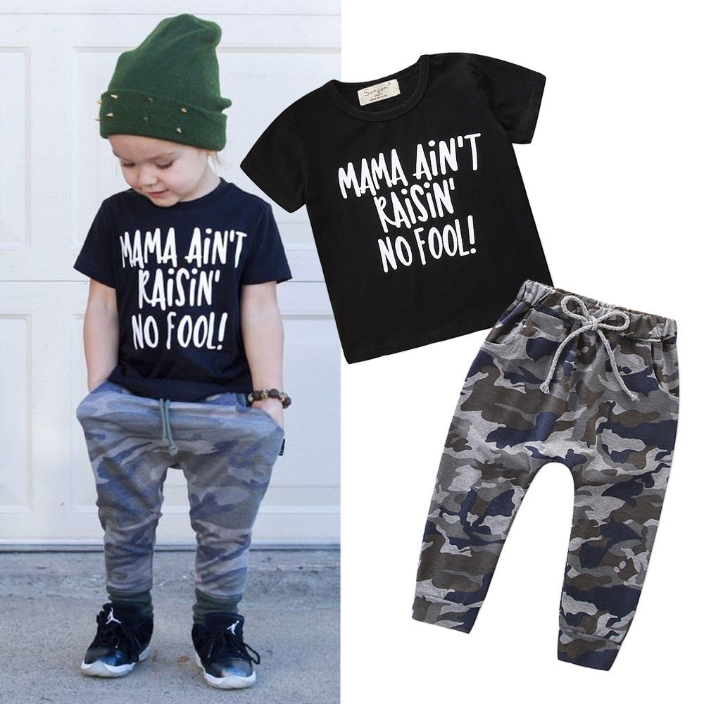 Toddler Kids Boy Suit Print Letter T-Shirt Tops+Camouflage Pants Outfits Clothes