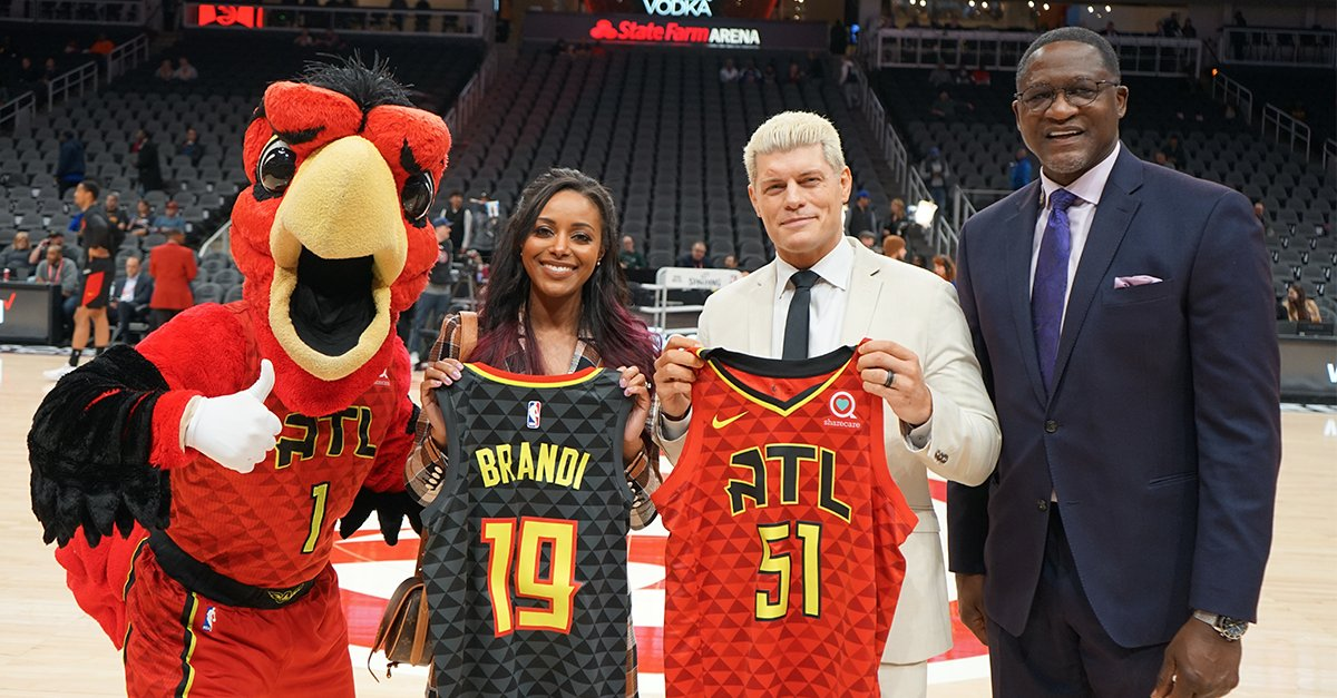 Brandi And Cody Rhodes Receive Ceremonial Jerseys At Atlanta Hawks Game (Photos)