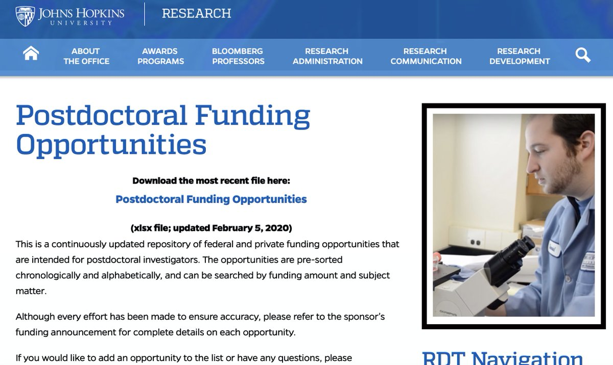Our gift to the entire research community: a downloadable database of 314 different types of postdoc fellowships.     https:// research.jhu.edu/rdt/funding-op portunities/postdoctoral/  …   This file contains detailed info for postdoc fellowships across the natural sciences, engineering, humanities, & social sciences <br>http://pic.twitter.com/PGvcw3Xnns