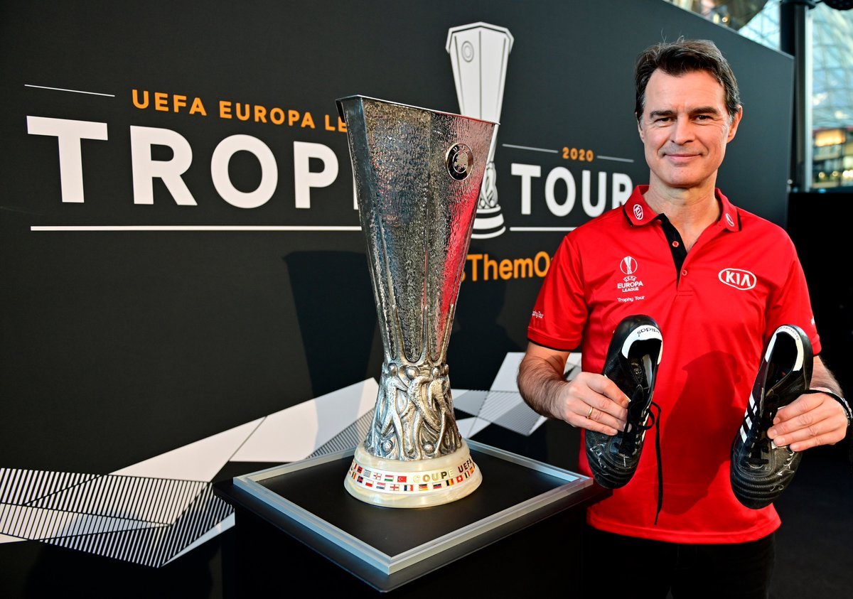 We are back! Today marked the start of the  2020 UEFA @EuropaLeague Trophy Tour, Driven by Kia.  Thomas Berthold joined us in Frankfurt as fans donated their boots and had photos with the iconic trophy.  Next stop, Barcelona!  #PassThemOn #UELTrophyTour
