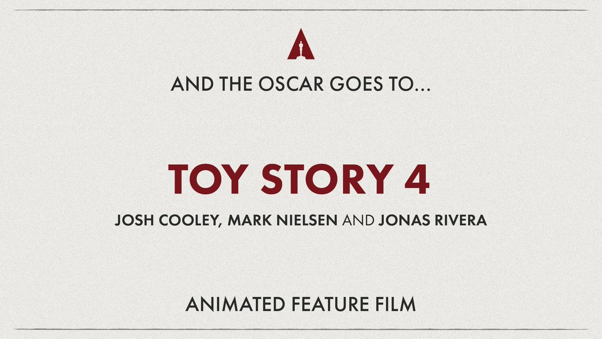 MEJOR PELICULA ANIMADA #TOYSTORY4 #JoshCooley, #MarkNielsen #JonasRivera @Pixar @toystorypic.twitter.com/PP36feP6LP