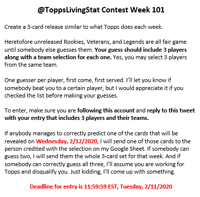 Week 101 #ToppsLivingSet contest!  No frills, clean slate. Nothing rolled over, no retweet team.  Rules in photo  Already made/guessed:  http://bit.ly/TLSWeek101  Good luck!