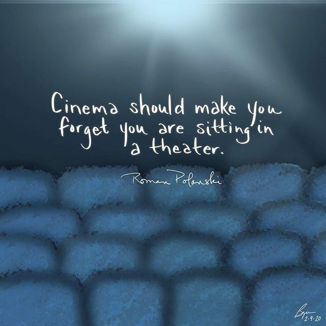 """Cinema should make you forget you are sitting in a theater."" (Roman Polanski)  #cinema #theater #movies #oscars #romanpolanski  #notice #illustration #visualart #visualverbal #art #artoftheday #quotes #everydayquotes #words #wordsofwisdom #wordlove #cre… https://ift.tt/2tKew87 pic.twitter.com/sCesmQ8oqW"