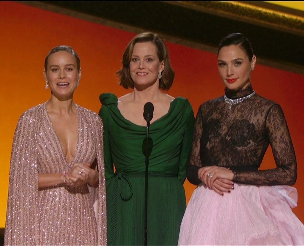 Captain Marvel, Ripley AND Wonder Woman on the same stage looking FIERCE! #Oscars2020