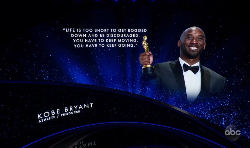 """""""Life is too short to get bogged down and be discouraged. You have to keep moving. You have to keep going."""" Kobe Bryant honored at the Oscars🙏"""