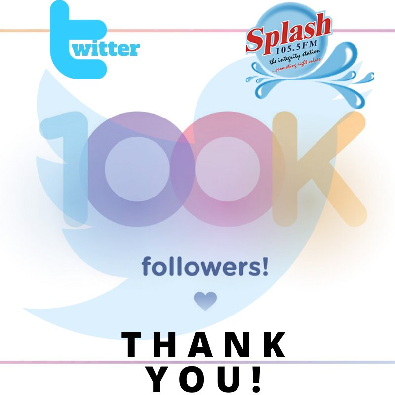 Thank you for making us get to this.  We can get better💪  #100kfollowers #twitter #Splashfm1055