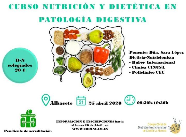 🎯Atención colegiad@s 🥑🍍Curso Nutrición y Dietética en patología digestiva en Albacete! 👏🏻 NO TE LO PIERDAS!