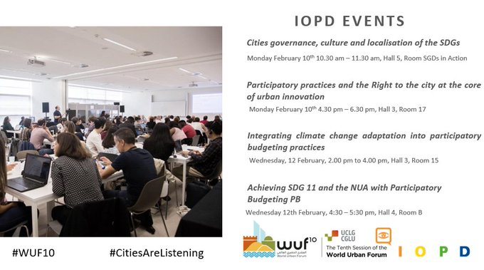 Take a look at today's @OIDPoidp session at #WUF10, addressing the contribution of #LocalGov #ParticipatoryDemocracy & #RighttotheCity practices at the  of #UrbanInnovation  Many initiatives already in place show #CitiesAreListening to renew #LocalDemocracy & #LocalizingSDGspic.twitter.com/ktwybs7Gq9