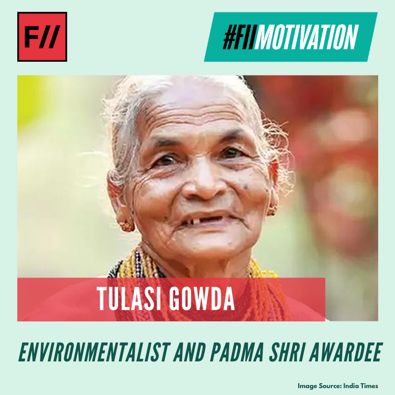 Tulasi Gowda is an environmentalist from Honnalli village in Ankola taluk of Uttara Kannada district. She belongs to the Hallaki tribe of Karnataka. Gowda has planted over 1,00,000 trees so far and is also known as the 'Encyclopedia of forest' #FIIMotivation #MondayMotivationpic.twitter.com/t0UwWYIKSj