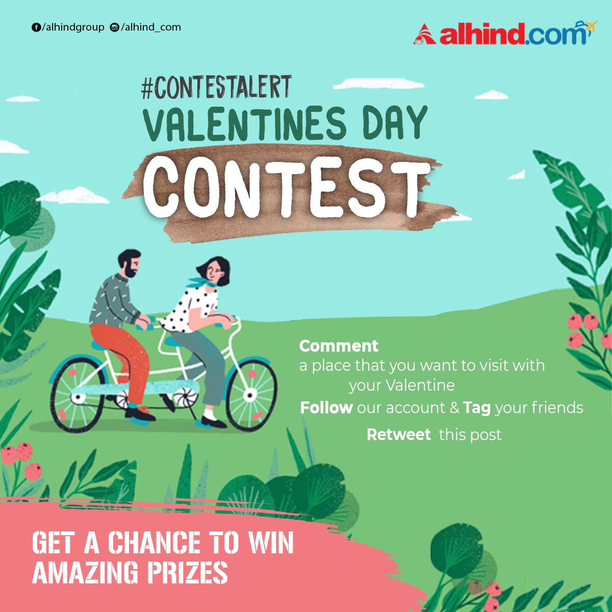 Participate our #ValentinesDayContest and get prizes  Retweet this post and Comment a place that you want to visit with your valentine. follow this account and tag your friends.   T&C: http://bit.ly/2Sf1U1W #contest #ContestAlert #TravelContest #ValentinesDayContest #alhind