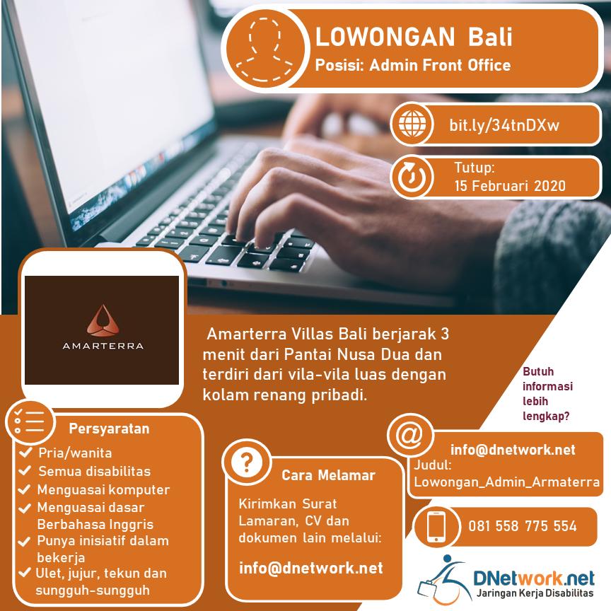 Dnetwork Jaringan Kerja Disabilitas در توییتر Hai Sobat Pencari Kerja Bali Amarterra Villas Bali Nusa Dua Buka Lowongan Training Di Bagian Admin Front Office Lo Ayo Sobat Awali Karir Di Perhotelan