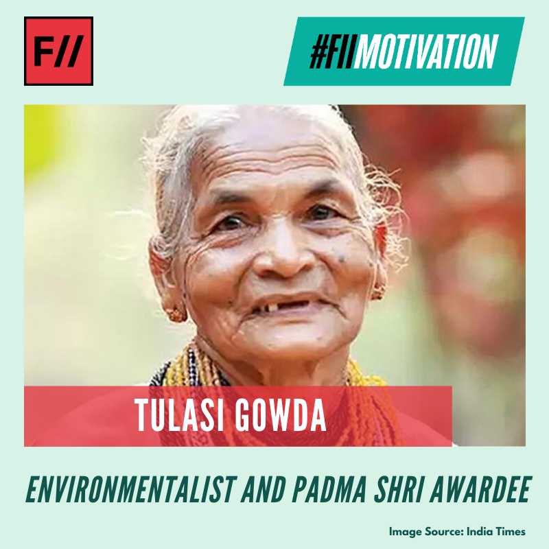 Tulasi Gowda is an #environmentalist from the Hallaki tribe of Karnataka. Gowda has planted over 1,00,000 trees so far and is also known as the 'Encyclopedia of forest' for her vast knowledge of diverse species of plants and herbs.   #FIIMotivation #MondayMotivation #TulasiGowdapic.twitter.com/6zfSAy1fa8