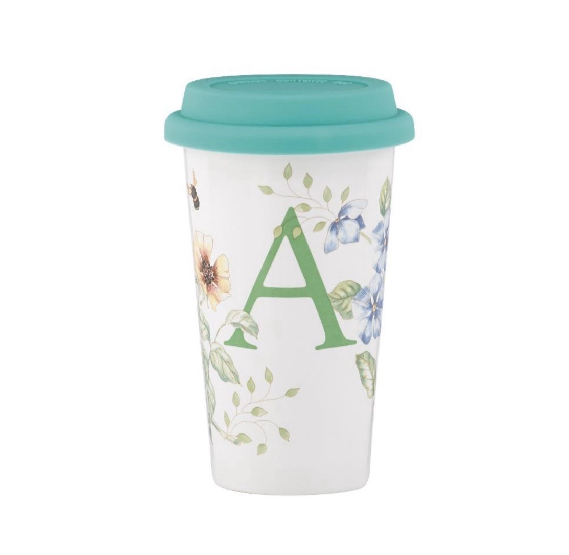 """""""Lenox Butterfly Meadow Thermal Travel Mug, A Enjoy hot or cold beverages on the go with a double-walled thermal travel mug. Hand wash only. Gift boxed. Available in other letters."""" #Lenox #butterflymeadow #travelmug #Jashanmal #Bahrainpic.twitter.com/UpltOGmW7u"""