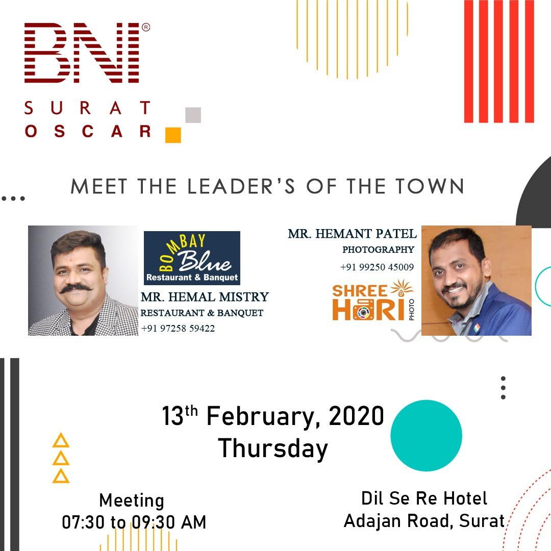 #BNIOscar invites you in their Business Meeting  #FeaturePresentation Speaker of the #13thFeb2020 are Mr. Hemal Mistry #BombayBlueRestaurantandBanquet #Restaurant  Mr. Hemant Patel #ShreeHari #Photography  Visits their Business meeting at Dil Se Re Hotel,Adajan Road,Surat.  #BNI