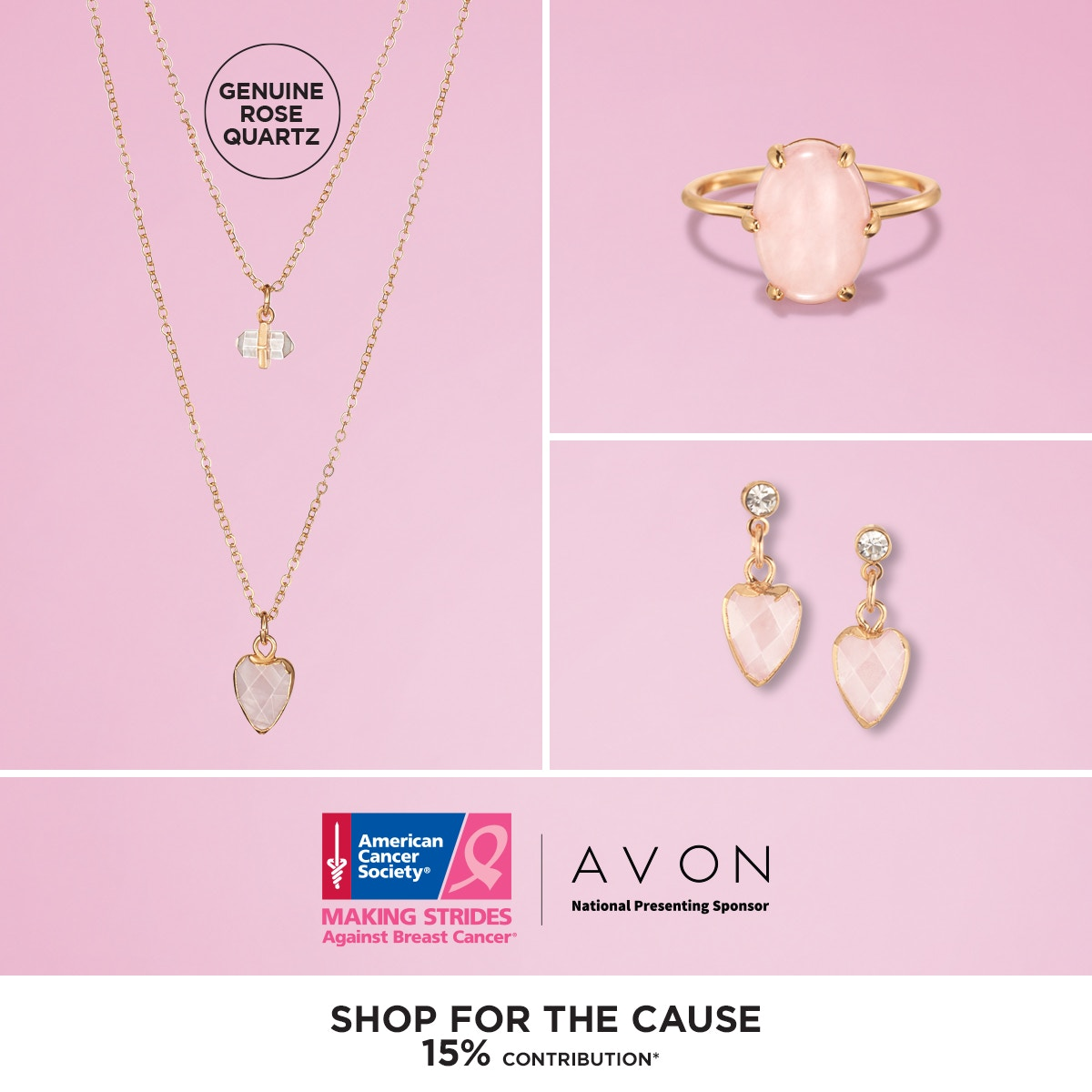 #Gorgeous set of layered #necklaces, featuring genuine #rose-quartz-charms & dainty #goldtone_chains. It's a simple, yet pretty way to amp up any look. #ACS #Making_Strides #Against_Breast_Cancer #pink #hope  not2daybreastcancer