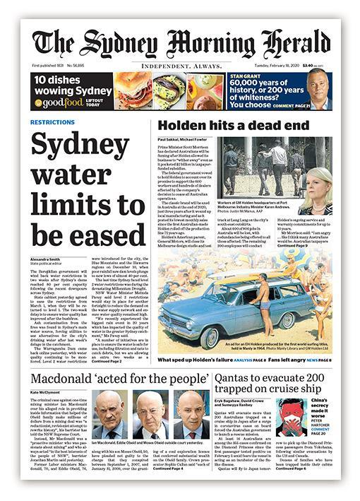 Good morning. Here's today's front page of the Herald bit.ly/SMHsubscribe