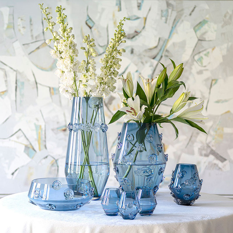 New! Stylish vases from Juliska's Spring Collection. Detailed, unique glass vases available in 3 colors.  Shop Vases now:   #amusespot #shopsmall #vases #createunforgettable #springarrivals #juliskajoy #existentialistretail