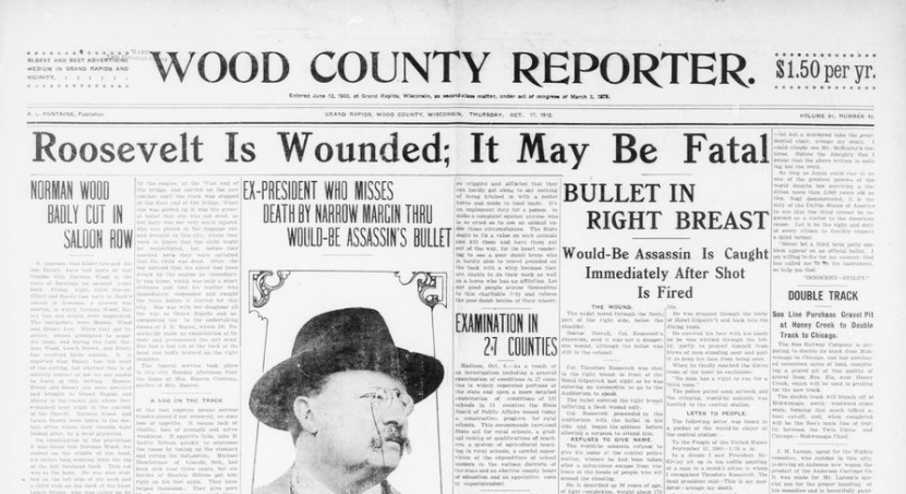 """On October 14, 1912, Theodore Roosevelt was shot in Milwaukee but he """"proceeded to the Auditorium with the bullet in his side and began his address before allowing a surgeon to attend him"""" #PresidentsDay #ChronAm http://ow.ly/VZAR50yaklD #Wisconsin #WisconsinNews #WisconsinHistorypic.twitter.com/AJP5grzyCl"""
