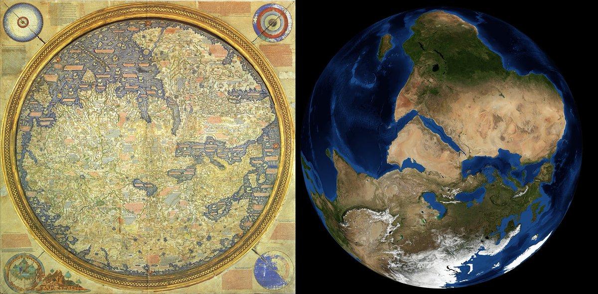 Hace unos años, la @NASA publicó esta dos imágenes comparativas. A la izquierda, el Mapamundi de Fra Mauro, realizado en 1457 en Venecia. A la derecha, la foto que sacaron los tripulantes del Apollo 17 el 7 de diciembre de 1972 (en ambas fotos, el sur está en la parte superior).