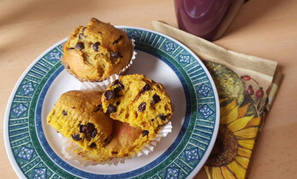 Chocolate Chip #Muffins with #Pumpkin Purée  #pumpkinpuree #pumpkinspice