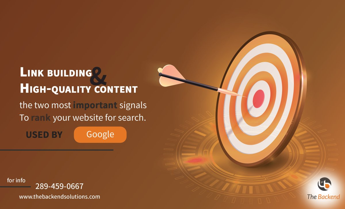 Building Quality Links one of many tactics used in search engine optimization (SEO), in order to rank your website on Google.  +1 289-459-0667  info@thebackendsolutions.com http://www.thebackendsolutions.com  #solutionprovider #consultant #sales #marketing #business #businesssolution pic.twitter.com/QCwlxzLlxz