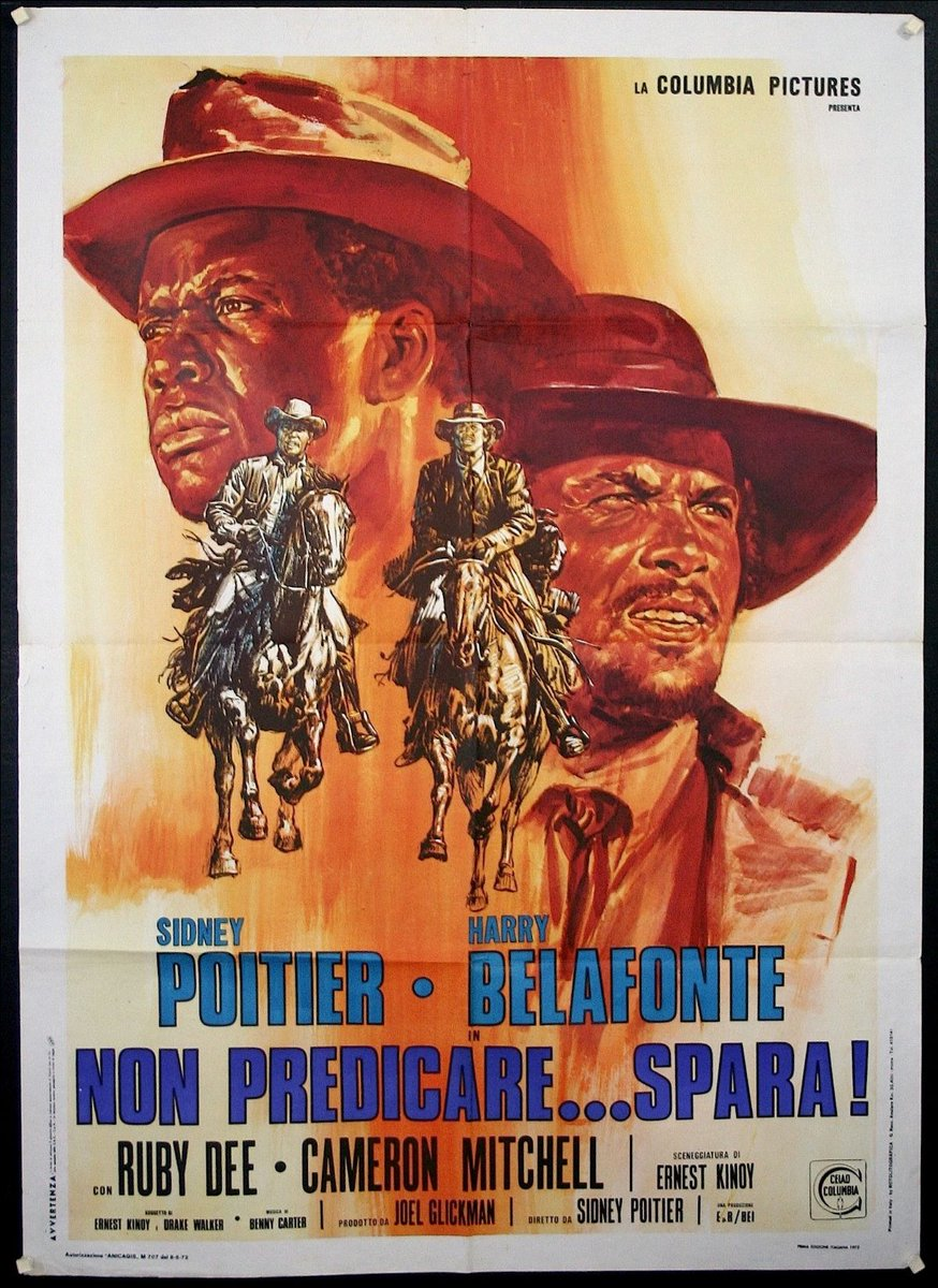 """via #IVPDA member @ChisholmLarsson """"Black Film exhibition: Non Predicare...Spara! Italian poster for the 1972 American Western 'Buck and the Preacher' the first film Sidney Poitier directed https://www.chisholm-poster.com/posters/CL11535.html…""""  [+ Visit https://ivpda.com/events-and-exhibitions.html… for more #VintagePoster events] pic.twitter.com/ln0PPZwB4n"""