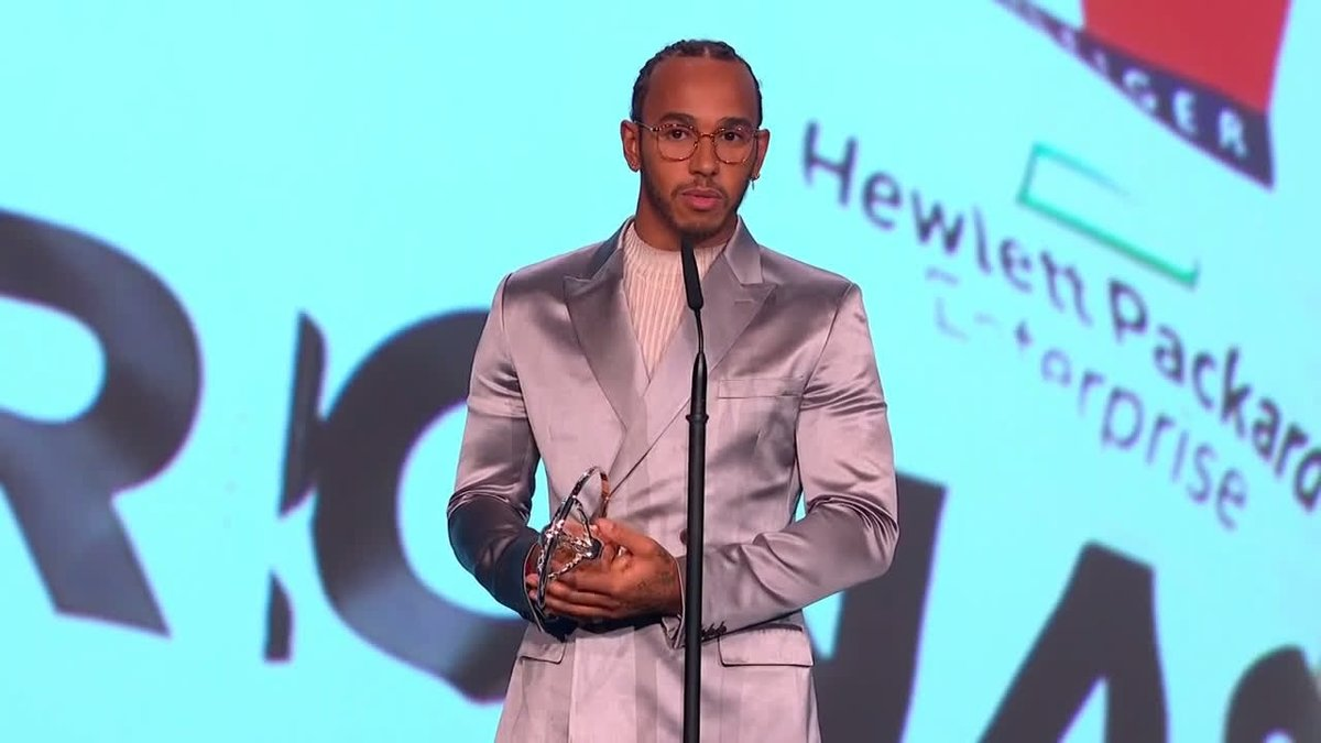 """💬 """"Wow, this is such an incredible honour!""""  An incredible moment in Berlin as Lewis picks up the @LaureusSport World Sportsman of the Year award following a historic season which culminated with his sixth World Championship! 🏆   #Laureus20"""